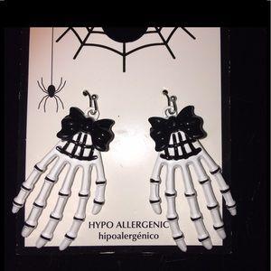NEW NIP Skeleton Hands Earrings  Hypoallergenic
